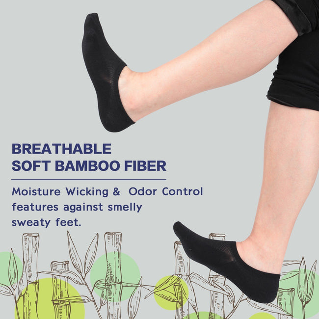 +MD Moisture Wicking No Show Bamboo Anti-Odor Socks Non Slip