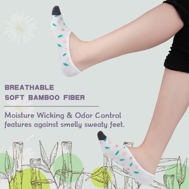 +MD Bamboo Anti-Odor No Show Liner Invisible Socks with Non Slip for Flats