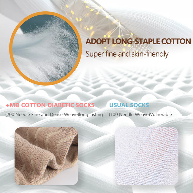 +MD Cotton Diabetic Non-Binding Ankle Socks Cushion