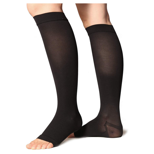 +MD 23-32mmHg Microfiber Opaque Compression Stockings Open-Toe Firm Support For Men And Women