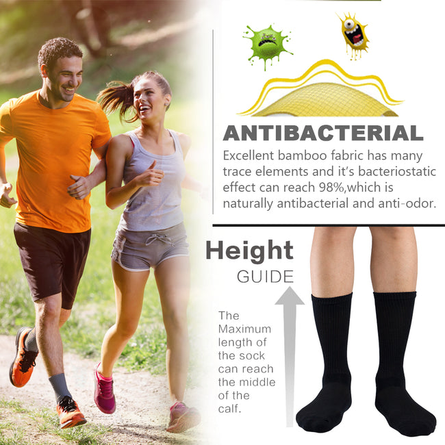 +MD Bamboo Moisture Wicking Anti-Odor Crew Socks Non-Binding Top (2 Pairs)