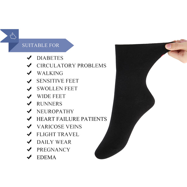 Men's Cotton Diabetic Ankle Socks Non-Binding Antibacterial