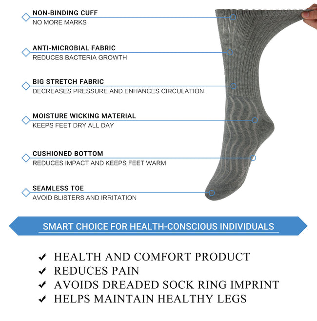 +MD Cotton Diabetic Non-Binding Crew Socks Cushion (2 Pairs)