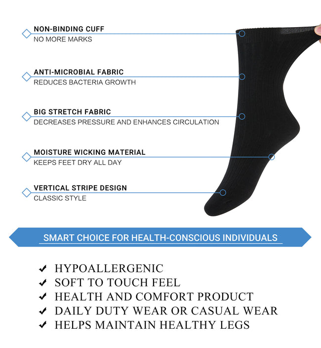 +MD Cotton Diabetic Business Crew Socks Soft Circulation (2 Pairs)