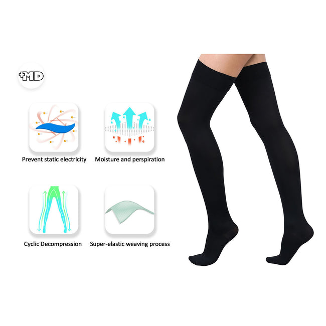 +MD 15-20mmHg Thigh High Compression Medical Black Socks with Feature
