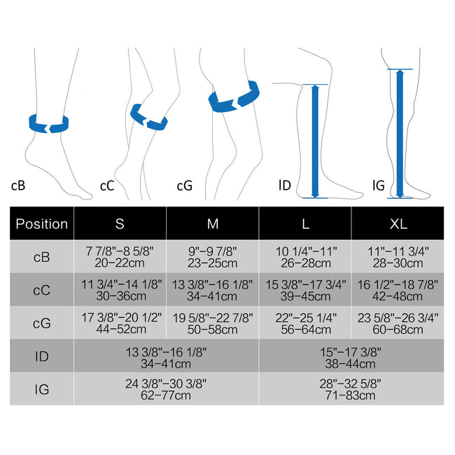 +MD Compression Stockings size chart
