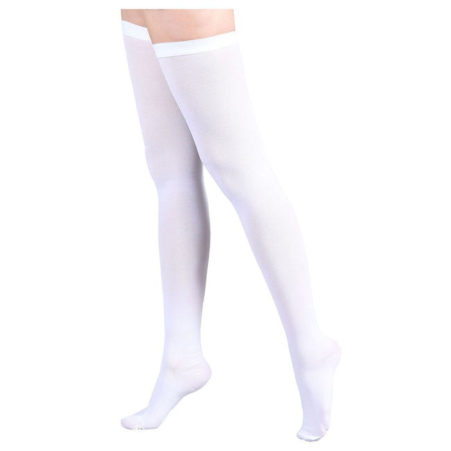 Women's 15-20mmHg Thigh High Compression Socks Inspection Toe