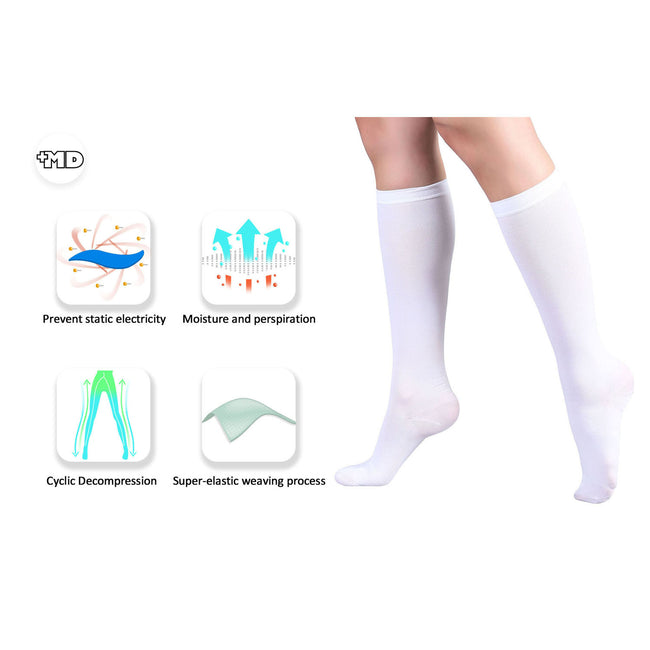 +MD 15-20mmHg Knee High Compression Adjustable Toe Medical Support Socks Feature