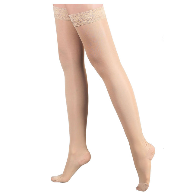 Women's 20-30mmHg Compression Therapy Thigh High Stockings Lace Antis