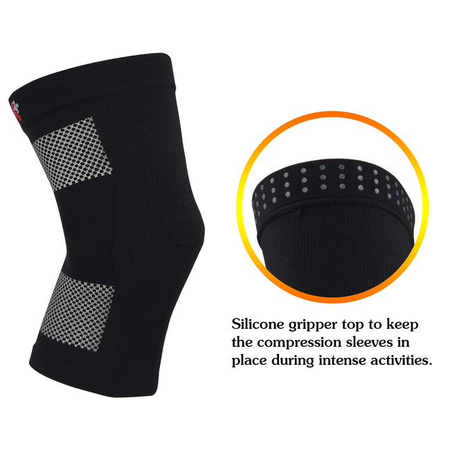 +MD Knee Compression Sleeve for Meniscus Tear, Arthritis, ACL, MCL Running, Joint Pain Relief, Injury Recovery (2 Pack)