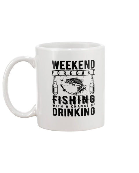 Weekend Forecast. Fishing White Beverage Mug