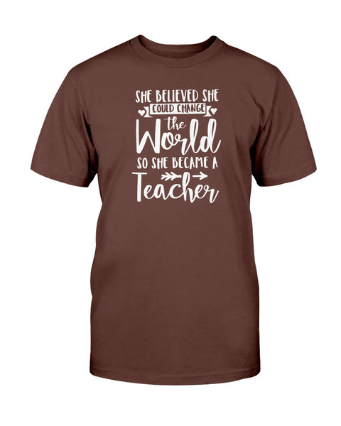 She Believed She Could Change The World So She Become A Teacher Graphic T-Shirt (more colors)