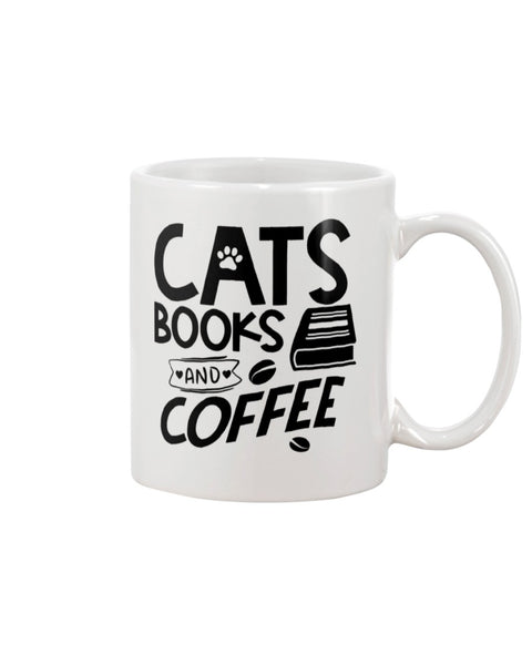 Cats Books and Coffee White Beverage Mug