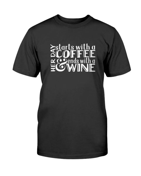 Her Day Starts With A Coffee & Ends With A Wine Graphic T-Shirt (more colors)
