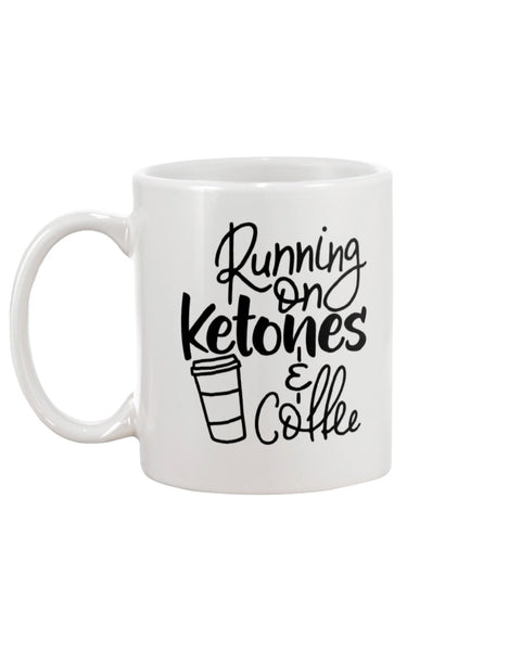 Running On Ketones & Coffee White Beverage Mug