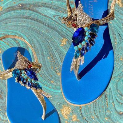 "Our blue ""Bellagio"" sandals are..."