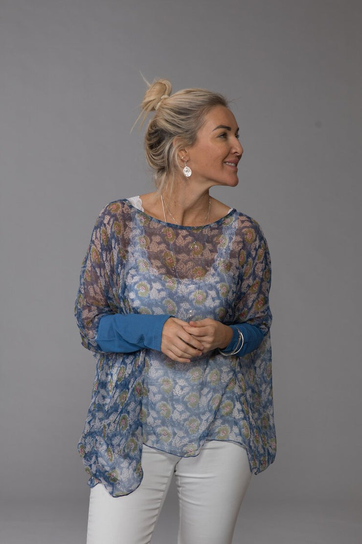 Sohar Top Hand-Block Printed In Chiffon