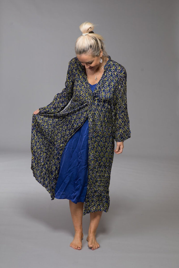 Sufiana Dress Hand Block Printed With Slip in Bamboo