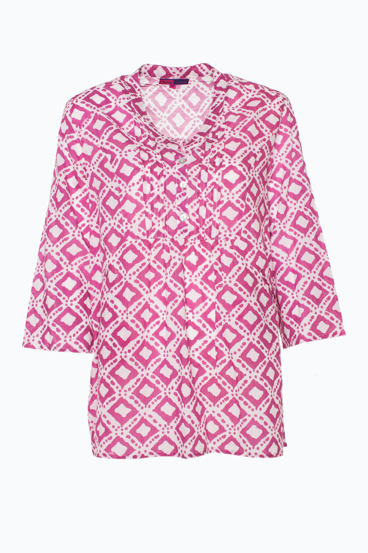 Millie Top Hand Block Printed in Pure Cotton, Only M!