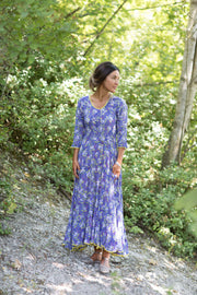 Ruby Sun Dress Hand Block Printed 3/4 Sleeve in Pure Cotton