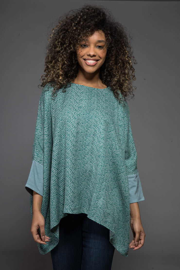 Sohar Top Hand Printed in Sustainable Moss Crepe