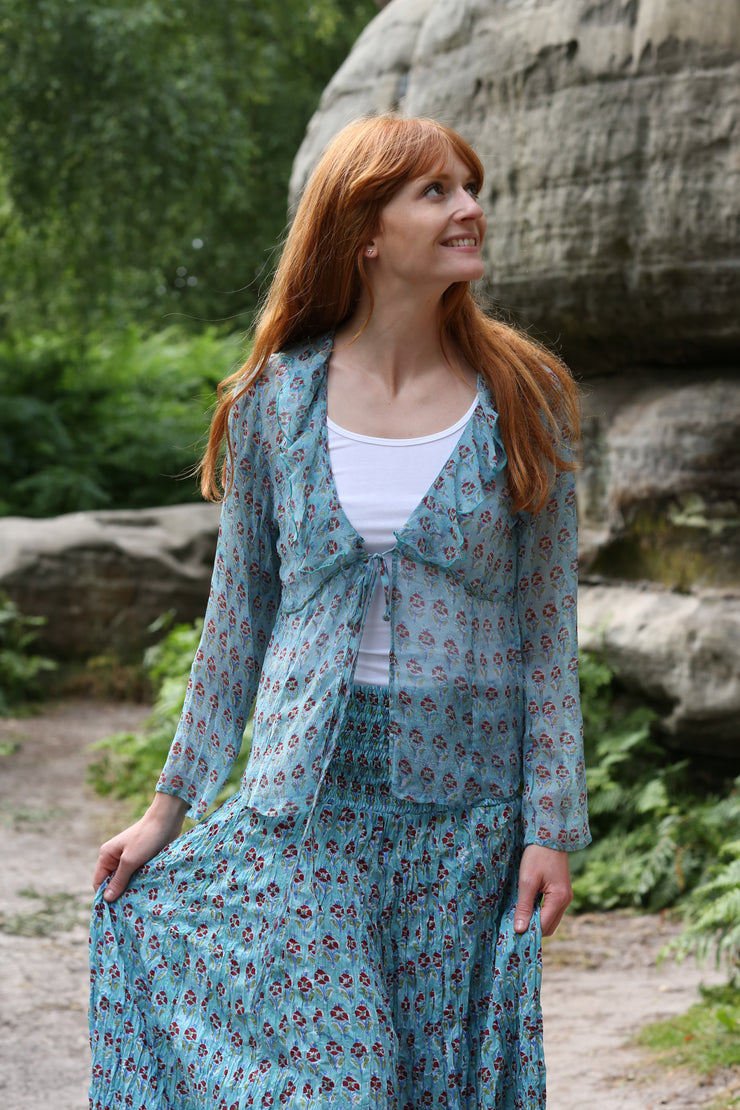New Hand Block Printed Chiffon Jacket - Only in Size Medium