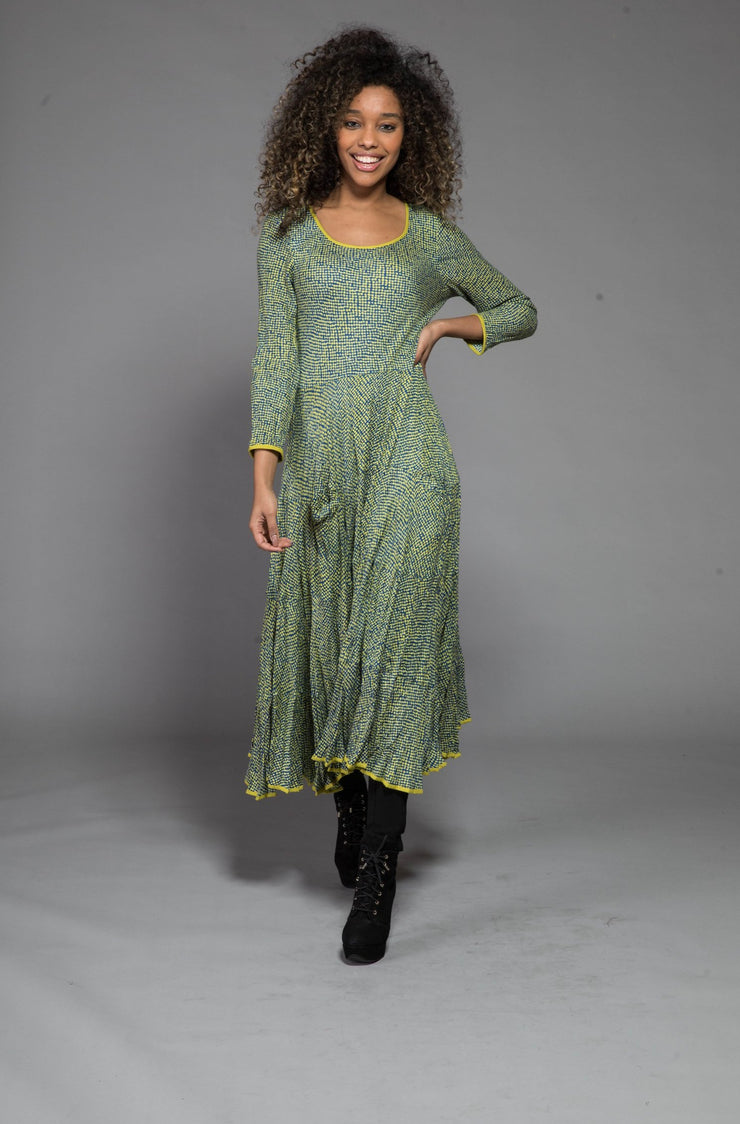Dewani Dress in Hand Block Printed Sustainable Moss Crepe