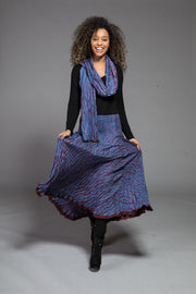 New Asman Skirt in Hand Dyed Shibori Sustainable Moss Crepe