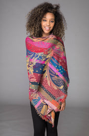 Tropical Forest Merino Wool Shawl