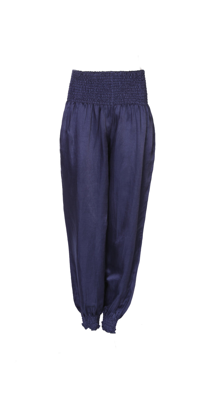 Sahara Pants Bamboo Linen in Plain Navy Blue