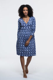 Anika Dress Hand Block Printed in Pure Cotton Jersey