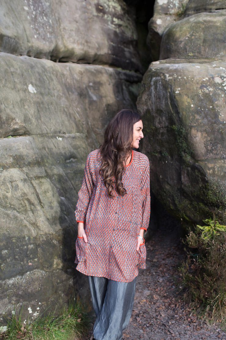 Uma Smock Top Hand Block Printed in Brushed Cotton,Last 1 in Size M!