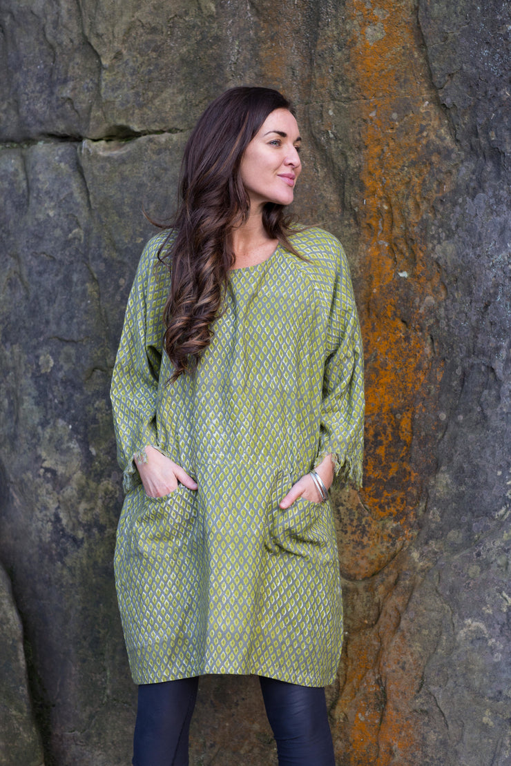 Aliza Tunic Hand Block Printed in Organic Brushed Cotton