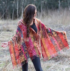 Gaugin Flowers Rust Merino Wool Shawl £59