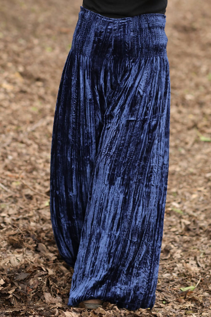 Kajol Pants in Deep Navy Crushed Velvet