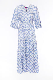 Kumar Maxi Dress Hand Block Printed 3/4 Sleeve in Pure Cotton