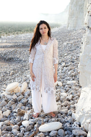 Sufiana Dress Hand Block Printed with Slip in Pure Cotton