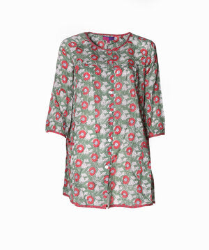 Uma Smock Top Hand Block Printed In Pure Cotton