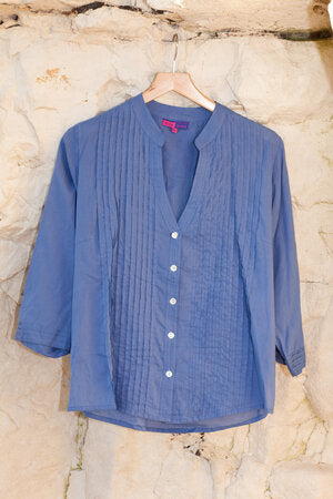 Kamal Pleat Shirt Hand Block Printed in Pure Cotton