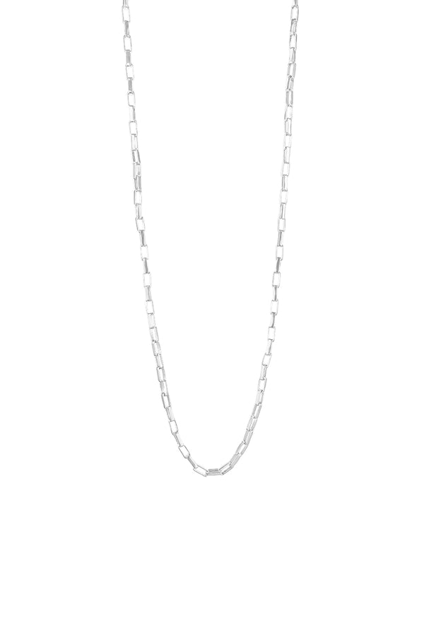Silver Rectangle Link Necklace