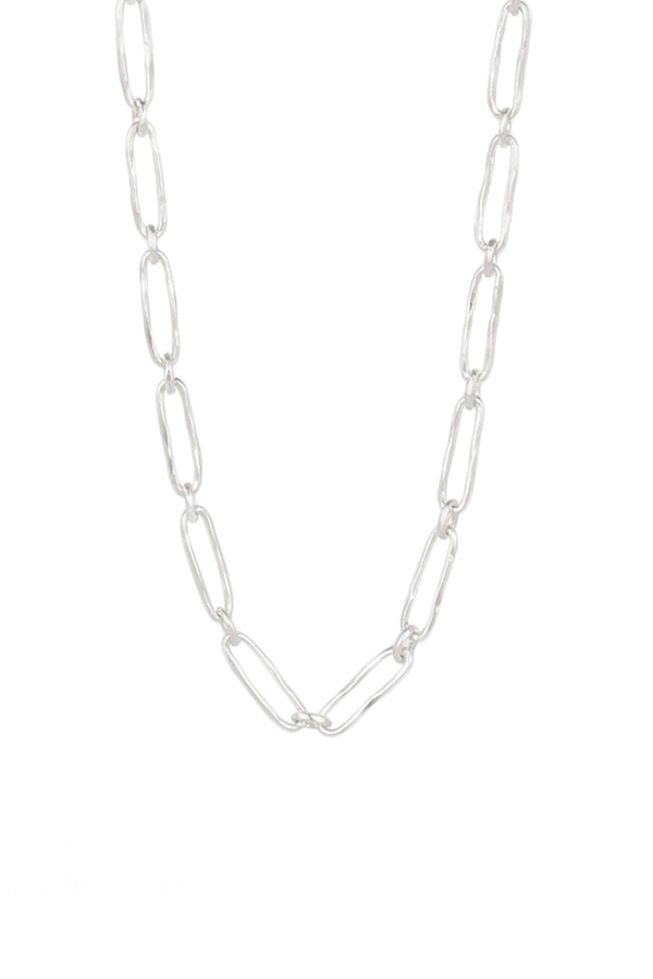 Silver Oval to Round Link Necklace