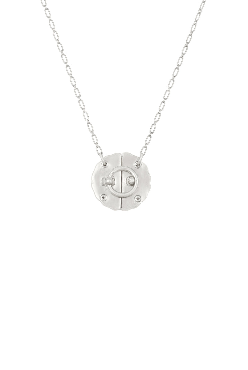 Silver Floral Lock Necklace