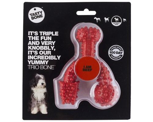 Tasty Bone Nylon Trio Bone Beef Dog Chew Toy Small