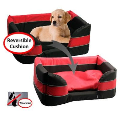 Pet One Stay Dry Basket Bed Red & Black Small