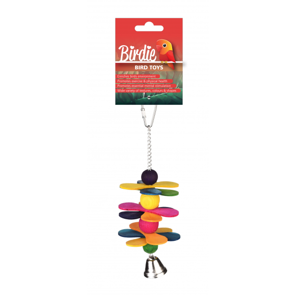 Birdie Bird Toy Wood with Bell Small