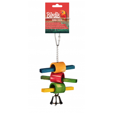Birdie Bird Toy Wood Perch with Bell Small