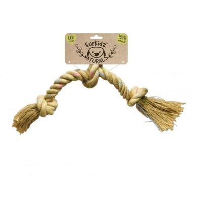 Furkidz Naturals Triple Knot Dog Puppy Rope Toy 58cm Eco Natural