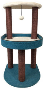 Cat Scratcher Cattitude 3 tier with bed half moon teal and brown 85cm tall