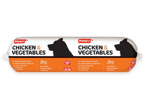 Prime 100 Chicken and Vegetable Dog Food Roll 2kg