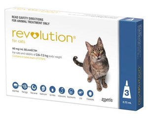 Revolution Cat Blue 2,6-7.5kg Flea Worm Heartworm 3pk